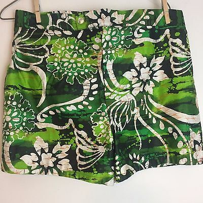 Vintage 60s BAREFOOT in PARADISE Hawaiian BOARD SHORTS size 36 vlv TRUNKS Green