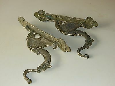 Antique brass dragon wall hooks (pair)