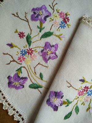 Gorgeous Purple Raised Flowers - Heavily Hand Embroidered Centrepiece
