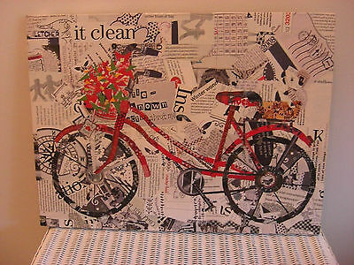 Original Collage Art On Canvas  By J.lynn,--'red Biycycle'