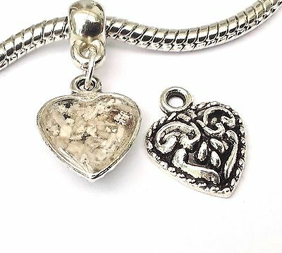 cremation jewellery for ashes memorial 10mm heart pendant with 20cm snake chain