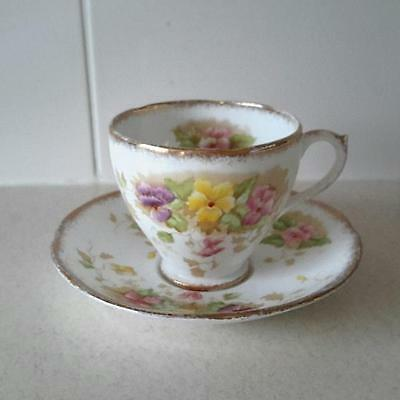 Vintage 1950s Royal Standard Charmaine Pattern Teacup Duo