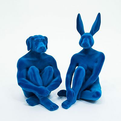 "GILLIE AND MARC -direct from the artists-  ""Pair of Royal Blue Flock"" sculptures"