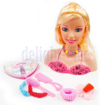 Girls Toy Doll Styling Head With Accessories Comb Brush Hair Clips Make Up DE