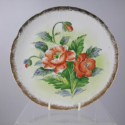 Vintage Floral Wall Display Plate Gold Edging