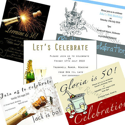100 x Personalised Birthday Party Invitations Adult Champagne various +envs