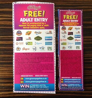 2 x Kelloggs Free Adult Entry 2 for 1 vouchers