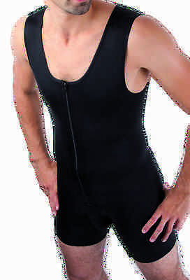 MGM Comfort, Male Compression Bodysuit, Post Surgery, Slimming, Black, Size S