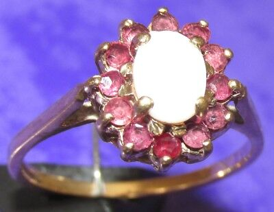 BEAUTIFUL SECONDHAND 9ct YELLOW GOLD RUBY & OVAL  OPAL RING SIZE Q