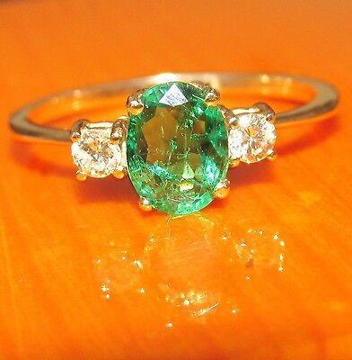 STUNNING SECONDHAND 18ct YELLOW GOLD EMERALD & DIAMONDS  RING SIZE L1/2