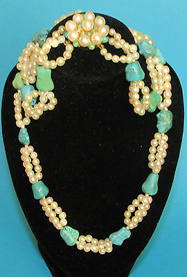 BEAUTIFUL SECONDHAND  PEARL & TURQUOISE NECKLACE WITH 9ct YELLOW CLASP