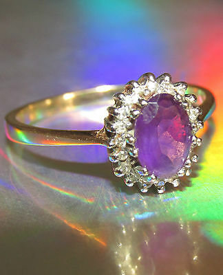 Secondhand 9Ct Yellow Gold Oval Amethyst And Diamond Cluster Ring Size O1/2