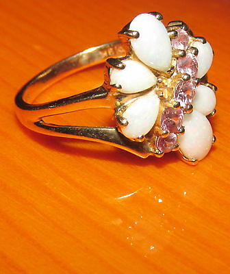 BEAUTIFUL SECONDHAND QVC 9ct YELLOW GOLD   OPAL & PINK TOPAZ CLUSTER RING SIZE M