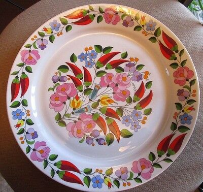 """Large Kalocsa 11"""" Wall Plate/ Serving Platter Floral Hand Painted# 0021 Hungary"""