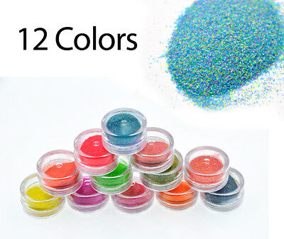 Nail Art Glitter Sugar Powder Colors UV Gel Acrylic Tips Dust Sequin Decoration