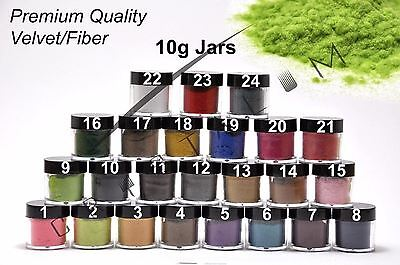Nail Art Fiber Velvet 24 Colors UV Gel Acrylic Tips Dust Sequin Decoration 10g