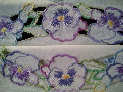 Charming Pastel Pansies Vintage Hand Embroidered Circle & Cut-work Tablecloth