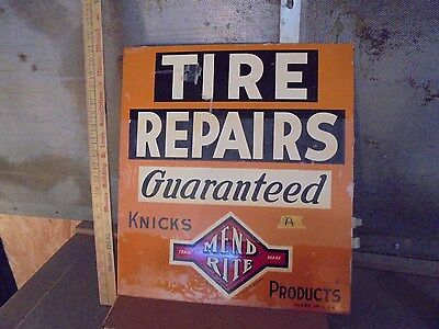 vintage metal mend rite flange tire repair sign gas oil service station