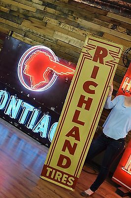 Original Richland Tires Service Station Sign Gas Oil Advertising 1940's Scarce
