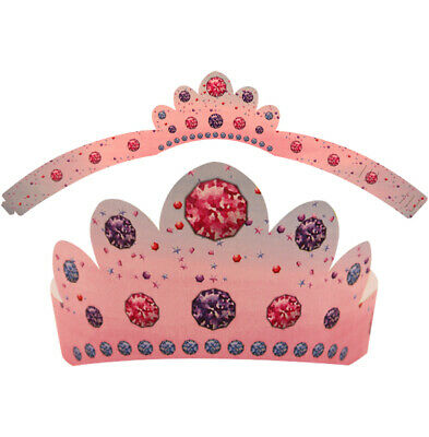 6 Paper Tiara Hats - Princess Costume Loot/Party Bag Fillers Wedding Dress Up