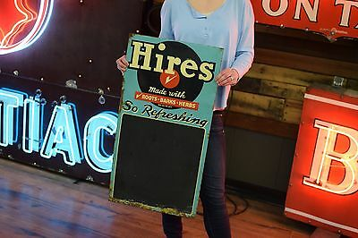 Hires Root Beer Sign Chalk Board Soda Pop Diner Gas Station tin 1950's
