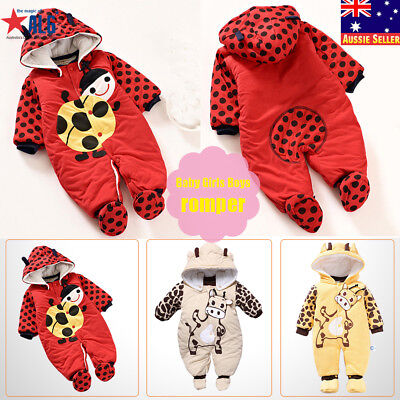 Newborn Baby Girls Boys Romper Hoodie Jumpsuit Winter Warm Outwear Cloth Outfits