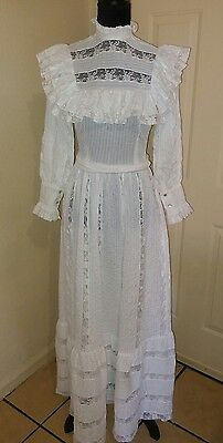 Victorian Dress/with Lace/high neck/Size S/ Ruffle/Long /hippie/boho/costume