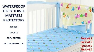 Waterproof Terry Towel Mattress Protector 100% Cotton - Protection From Spillage