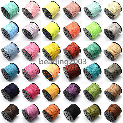 1 Roll 3mm Soft Faux Suede Cords Craft Jewellery Thread String Rope 42 Colours