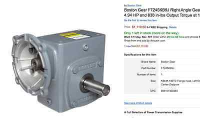 "Boston Gear F7245KB9J 5:1 Ratio Right Angle Gearbox 180TC 2.38"" Cent Left Output"