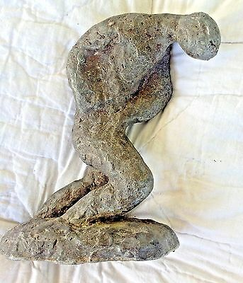 Ancient Carving Granite Limestone Sculpture Man Statue Marked Heavy 8""