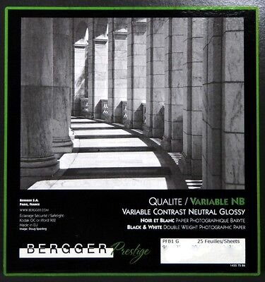 Bergger  Fine Art Variable NB Neutral Glossy Photographic Paper 8x10 10 sheets