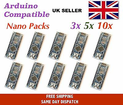 Arduino Nano v3 compatible - multi-pack, ATMEGA328, CH340 USB, UK Stock