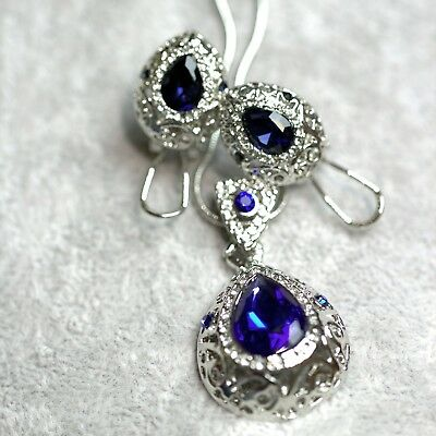 Silver Plated Royal Blue Crystal Necklace & Earrings Set