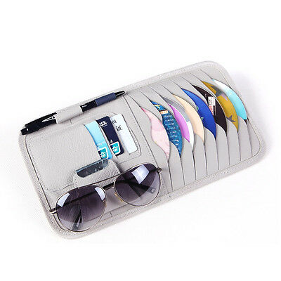 Car Sun Visor PU Leather Sunshade CD Disc Storage Bag Glasses Holder Case Grey