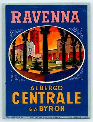 1930's Vintage HOTEL CENTRALE BYRON Travel Decal LUGGAGE LABEL Ravenna Italy
