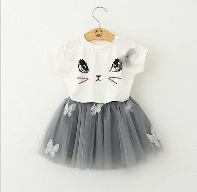 NEW KIDS GIRLS Cute Kitty Cat Printed Summer TOP and Frock Skirt Set Butterfly