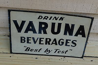 Drink Varuna Beverages soda tin embossed sign Nelke Signs NY