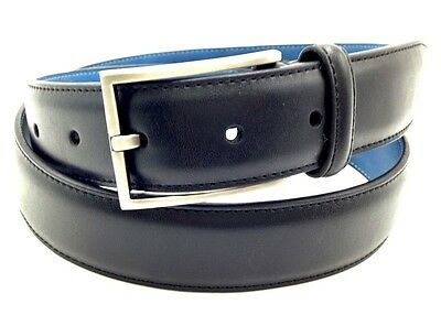 $225 RYAN SEACREST Men's BLACK BLUE LEATHER CASUAL SILVER-BUCKLE BELT SIZE 36