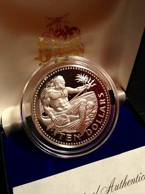 1977 Franklin Mint BARBADOS 10 Dollars Neptune Silver Crown Proof