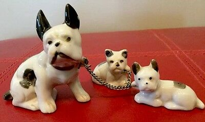 Vtg Boston Terrier Figurine With Babies Puppies On Chain Made In Japan. Dog  S5