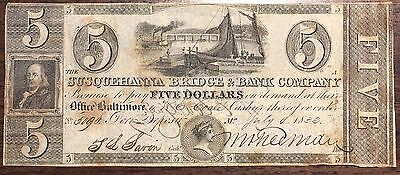 July 4th, 1833 $5 Susquehanna Bridge and Bank Co. Obsolete Note