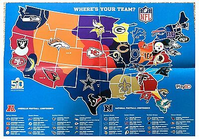 NFL American Football Teams Logo Location A2 Map Poster