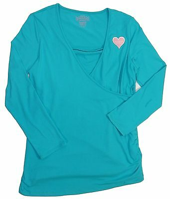 New Women's Maternity Aqua Blue Long Sleeve Ruched Crossover Top Shirt Size XL