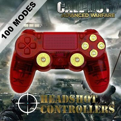 Sony PS4 Dualshock 4 Clear Red Arbiter 4 Rapid Fire Controller HS-342