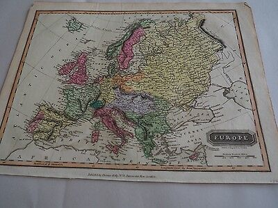 "Antique Map, ""Europe"", Hand colored, 1826, J Wallis"