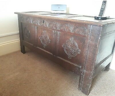 A Characterful Antique Carved Oak Coffer Worn Condition Beautiful Carvings