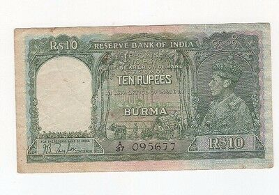 B4 Burma 10 Rupees 1938 P-5 Banknote Paper Money Currency British India Myanmar