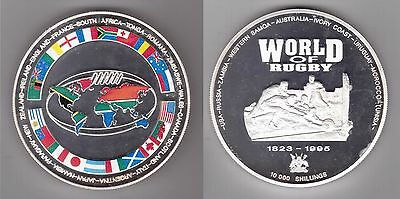 UGANDA COLORED 10000 SHILLINGS PROOF COIN 1995 YEAR WORLD OF RUGBY SILVER 10 Oz!