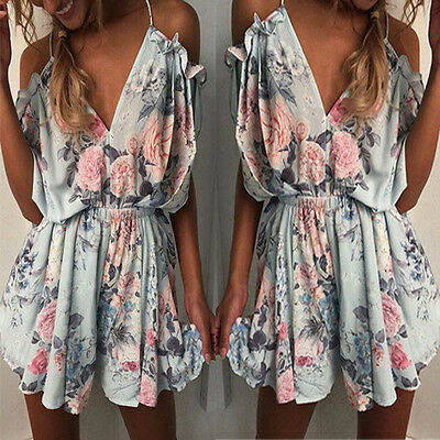 UK Boho Womens Cold Shoulder Holiday Mini Playsuit Dress Summer Beach Jumpsuit